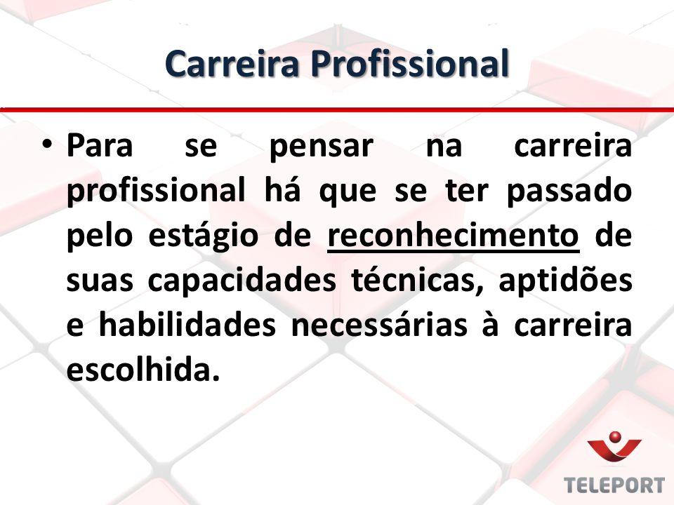Carreira Profissional Para se pensar na carreira profissional há que se ter passado pelo estágio de reconhecimento de suas capacidades técnicas, aptid