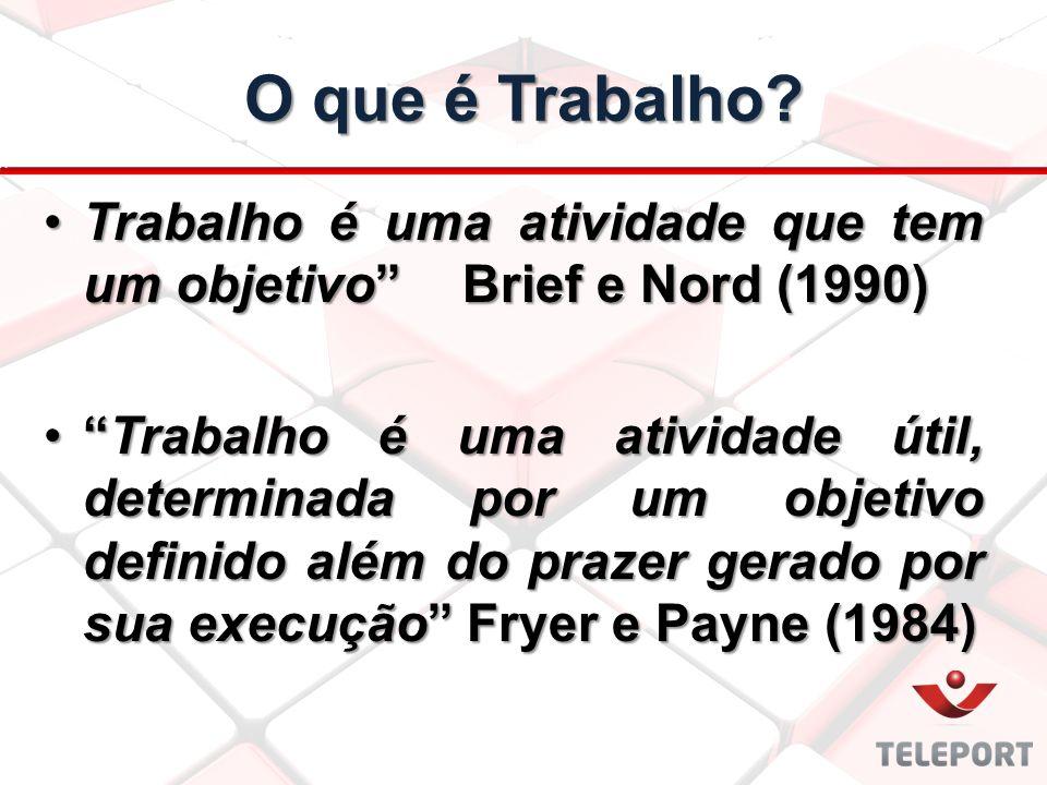 """O que é Trabalho? Trabalho é uma atividade que tem um objetivo""""Brief e Nord (1990)Trabalho é uma atividade que tem um objetivo""""Brief e Nord (1990) """"Tr"""