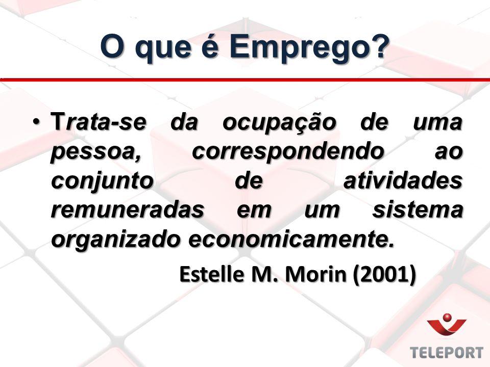 Trata-se da ocupação de uma pessoa, correspondendo ao conjunto de atividades remuneradas em um sistema organizado economicamente.Trata-se da ocupação