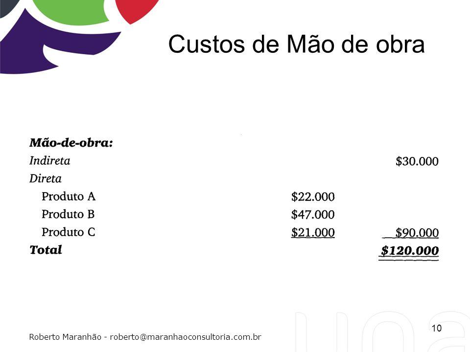 Custos de Mão de obra 10 Roberto Maranhão - roberto@maranhaoconsultoria.com.br