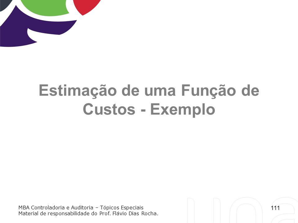 111 Estimação de uma Função de Custos - Exemplo MBA Controladoria e Auditoria – Tópicos Especiais Material de responsabilidade do Prof. Flávio Dias Ro