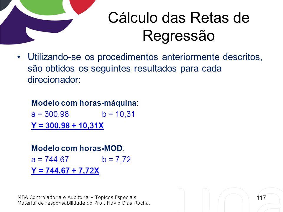 Cálculo das Retas de Regressão Utilizando-se os procedimentos anteriormente descritos, são obtidos os seguintes resultados para cada direcionador: Mod