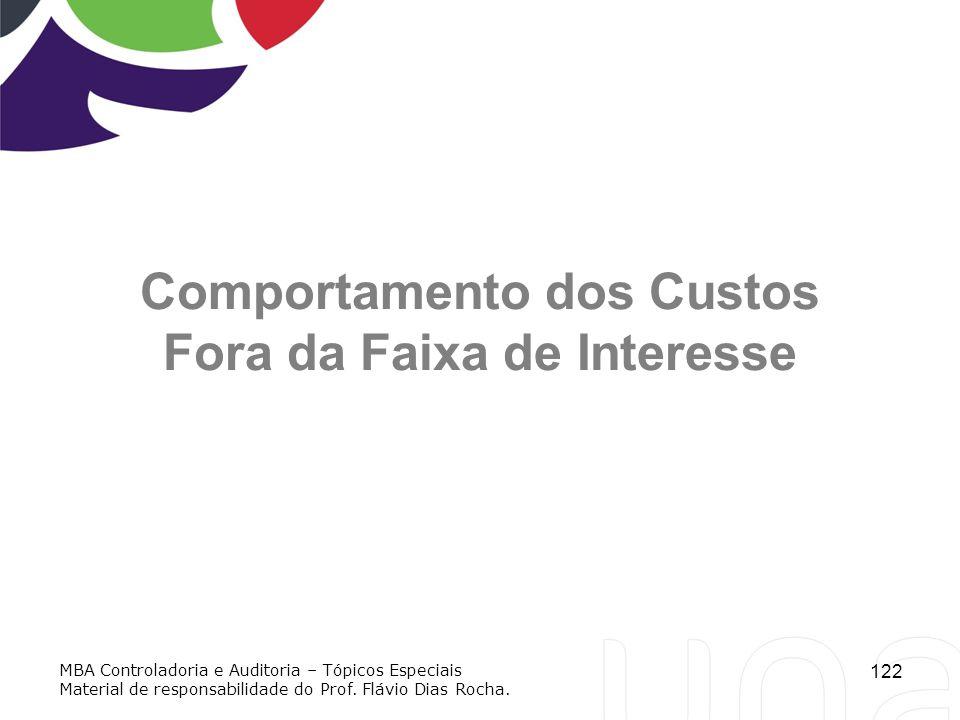 122 Comportamento dos Custos Fora da Faixa de Interesse MBA Controladoria e Auditoria – Tópicos Especiais Material de responsabilidade do Prof. Flávio