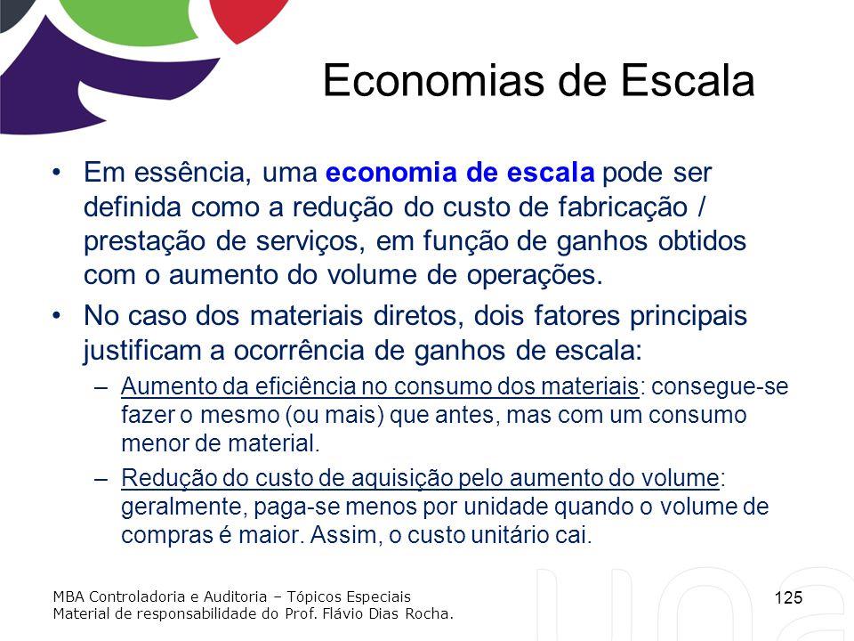 Economias de Escala Em essência, uma economia de escala pode ser definida como a redução do custo de fabricação / prestação de serviços, em função de