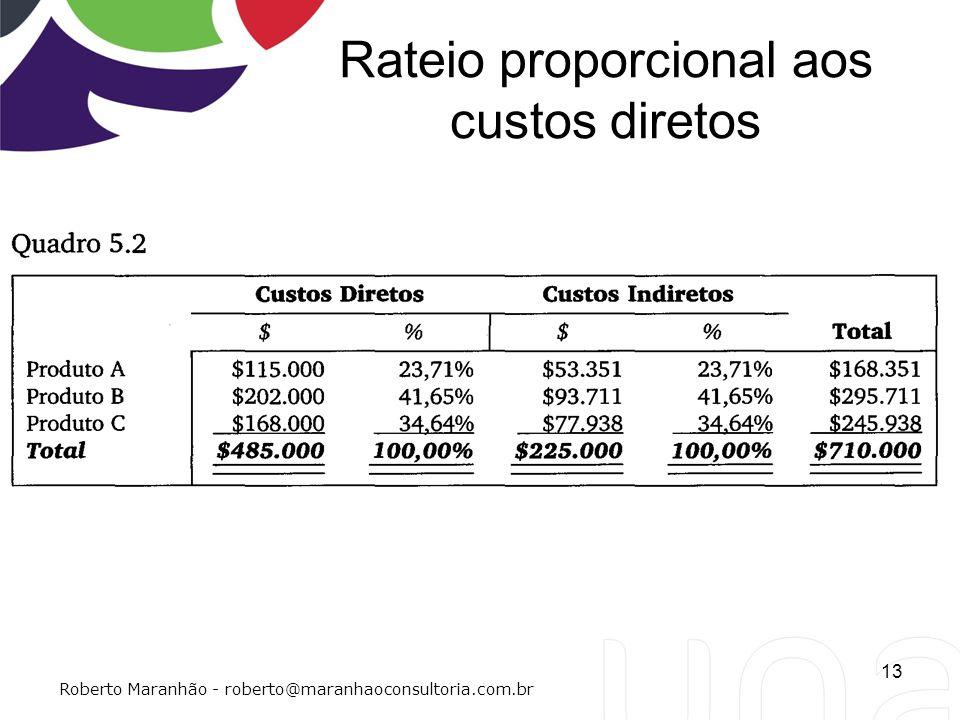 Rateio proporcional aos custos diretos 13 Roberto Maranhão - roberto@maranhaoconsultoria.com.br