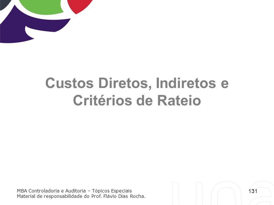 131 Custos Diretos, Indiretos e Critérios de Rateio MBA Controladoria e Auditoria – Tópicos Especiais Material de responsabilidade do Prof. Flávio Dia