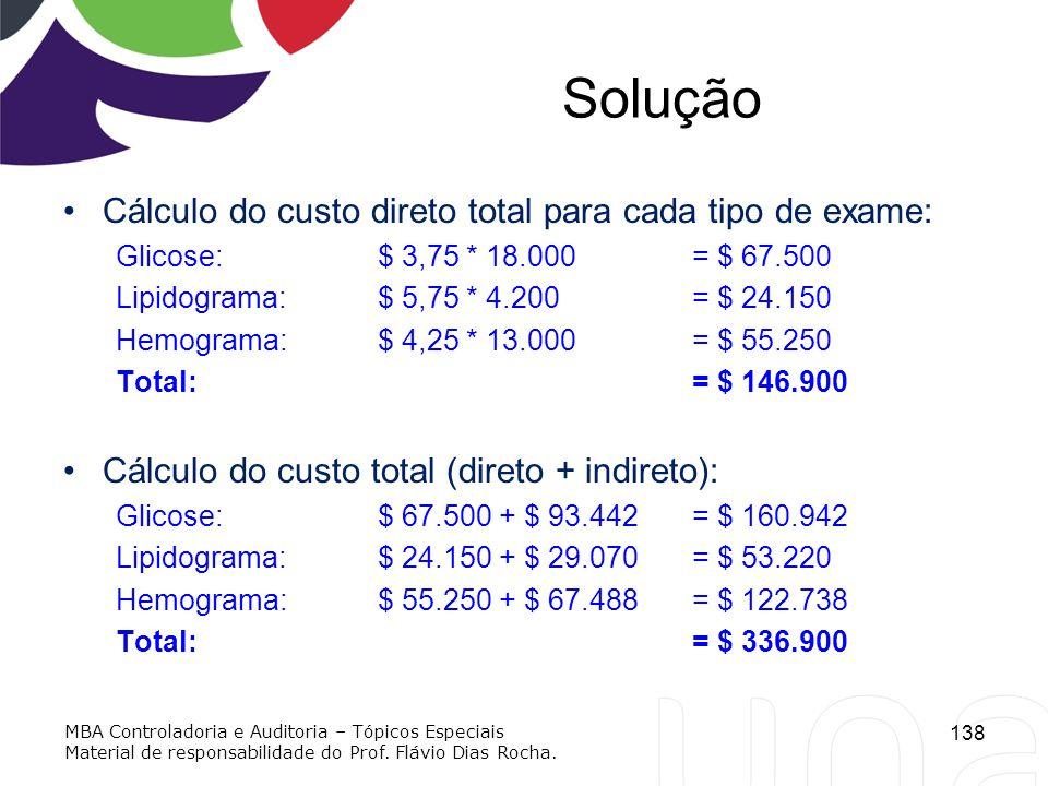 Solução Cálculo do custo direto total para cada tipo de exame: Glicose: $ 3,75 * 18.000 = $ 67.500 Lipidograma:$ 5,75 * 4.200 = $ 24.150 Hemograma:$ 4