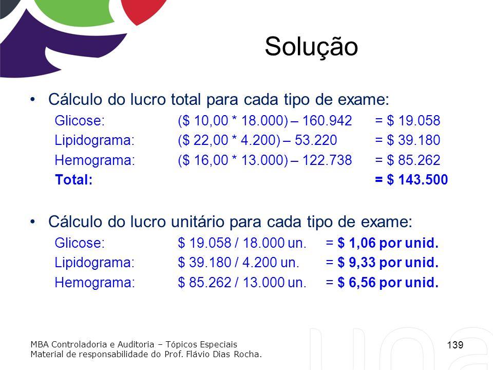 Solução Cálculo do lucro total para cada tipo de exame: Glicose: ($ 10,00 * 18.000) – 160.942 = $ 19.058 Lipidograma:($ 22,00 * 4.200) – 53.220 = $ 39
