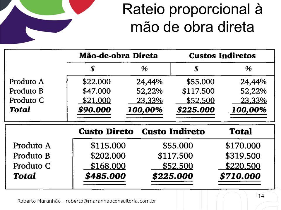 Rateio proporcional à mão de obra direta 14 Roberto Maranhão - roberto@maranhaoconsultoria.com.br