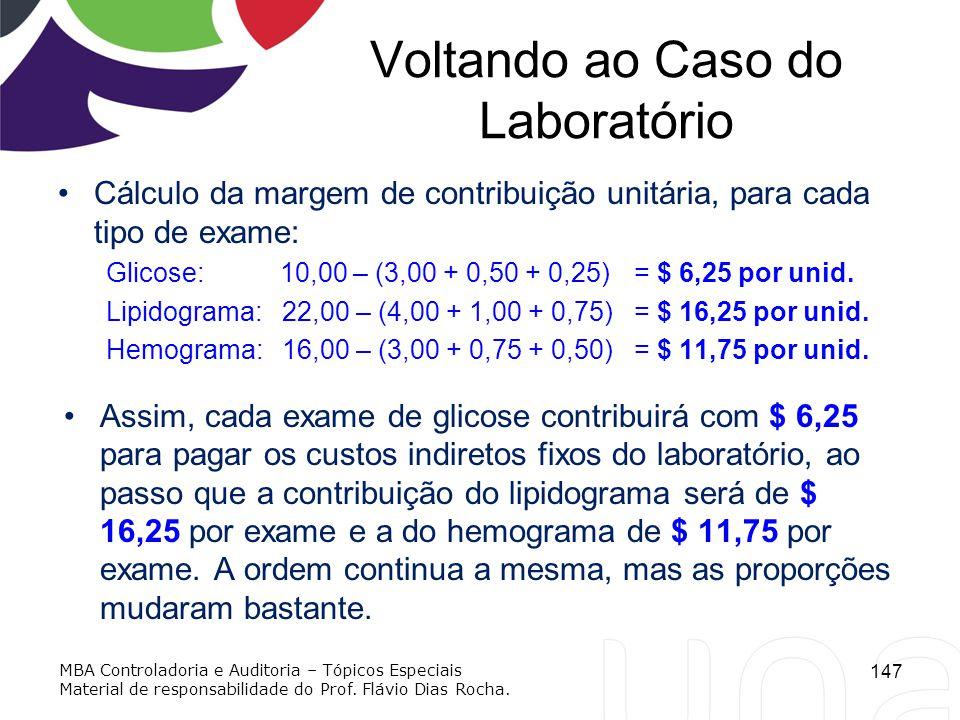 Voltando ao Caso do Laboratório Cálculo da margem de contribuição unitária, para cada tipo de exame: Glicose: 10,00 – (3,00 + 0,50 + 0,25)= $ 6,25 por