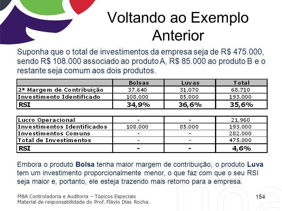 Voltando ao Exemplo Anterior Suponha que o total de investimentos da empresa seja de R$ 475.000, sendo R$ 108.000 associado ao produto A, R$ 85.000 ao