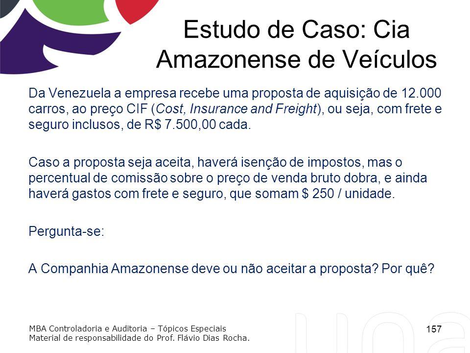 Estudo de Caso: Cia Amazonense de Veículos Da Venezuela a empresa recebe uma proposta de aquisição de 12.000 carros, ao preço CIF (Cost, Insurance and