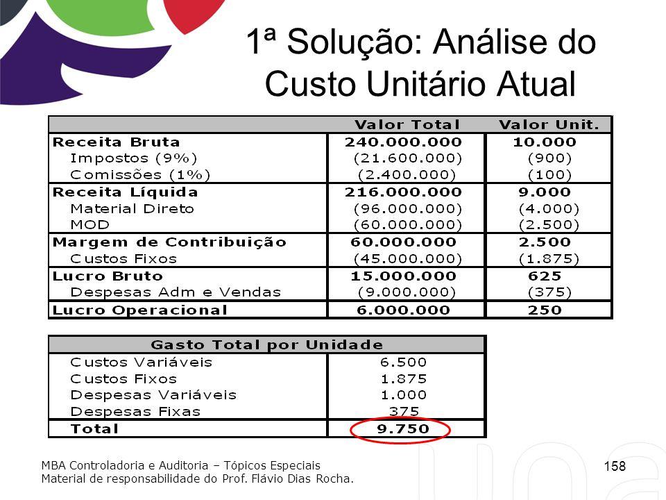 1ª Solução: Análise do Custo Unitário Atual 158 MBA Controladoria e Auditoria – Tópicos Especiais Material de responsabilidade do Prof. Flávio Dias Ro