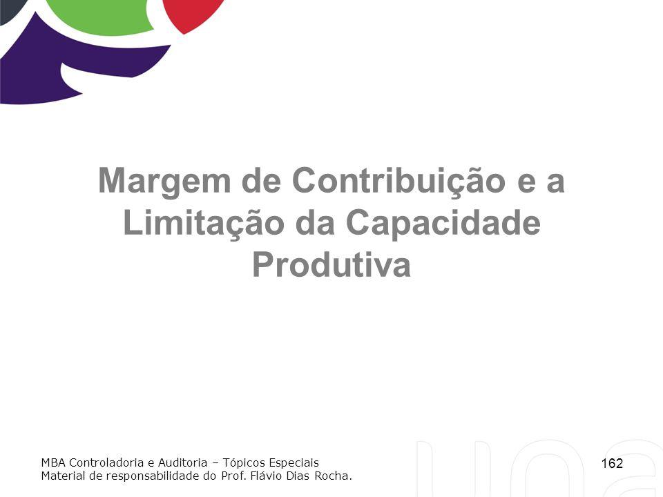 162 Margem de Contribuição e a Limitação da Capacidade Produtiva MBA Controladoria e Auditoria – Tópicos Especiais Material de responsabilidade do Pro