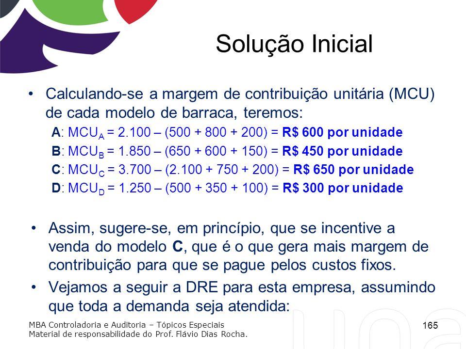Solução Inicial Calculando-se a margem de contribuição unitária (MCU) de cada modelo de barraca, teremos: A: MCU A = 2.100 – (500 + 800 + 200) = R$ 60