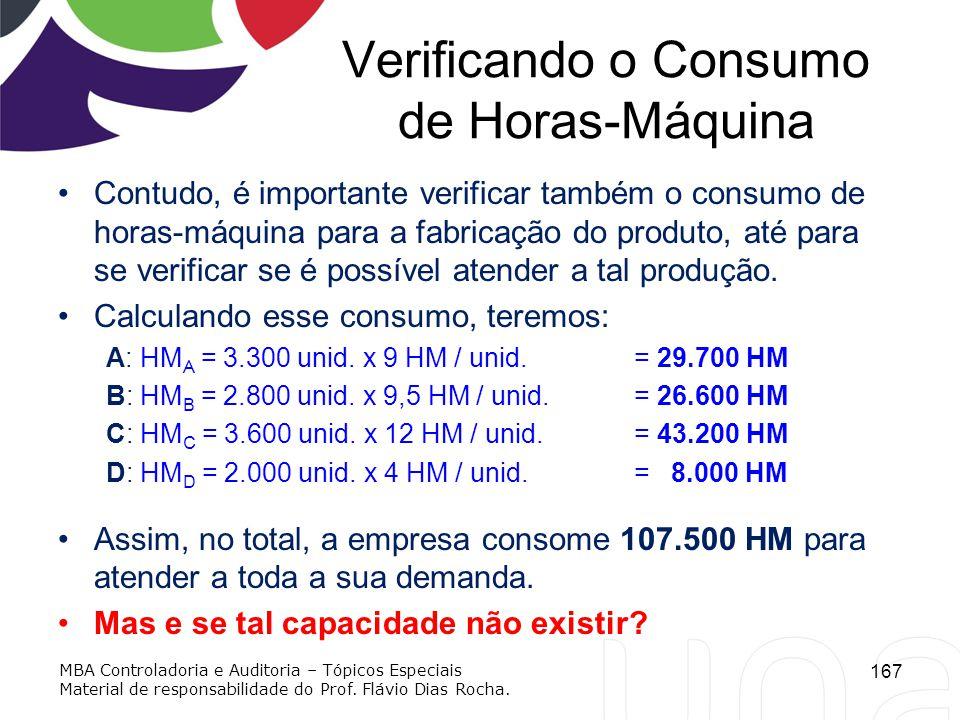 Verificando o Consumo de Horas-Máquina Contudo, é importante verificar também o consumo de horas-máquina para a fabricação do produto, até para se ver