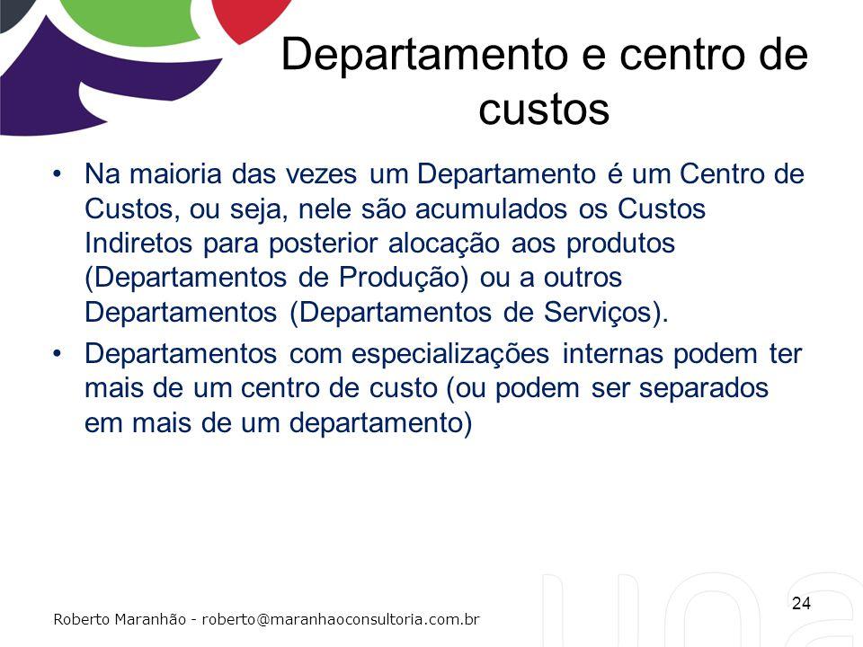 Departamento e centro de custos Na maioria das vezes um Departamento é um Centro de Custos, ou seja, nele são acumulados os Custos Indiretos para post