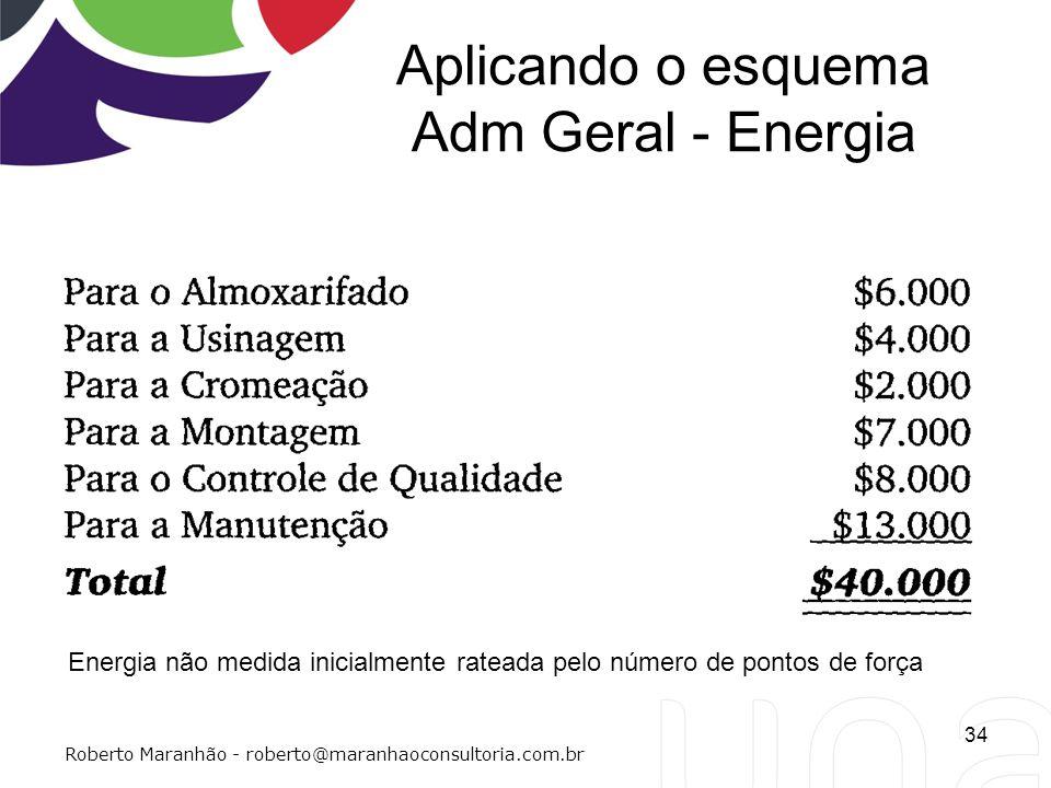 Aplicando o esquema Adm Geral - Energia 34 Roberto Maranhão - roberto@maranhaoconsultoria.com.br Energia não medida inicialmente rateada pelo número d
