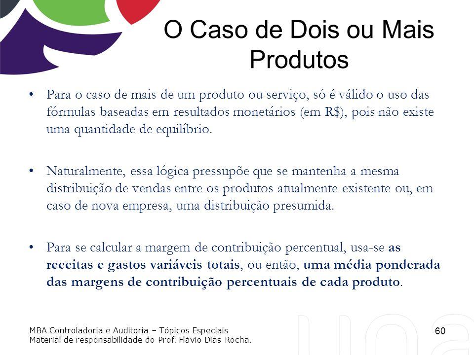 O Caso de Dois ou Mais Produtos Para o caso de mais de um produto ou serviço, só é válido o uso das fórmulas baseadas em resultados monetários (em R$)