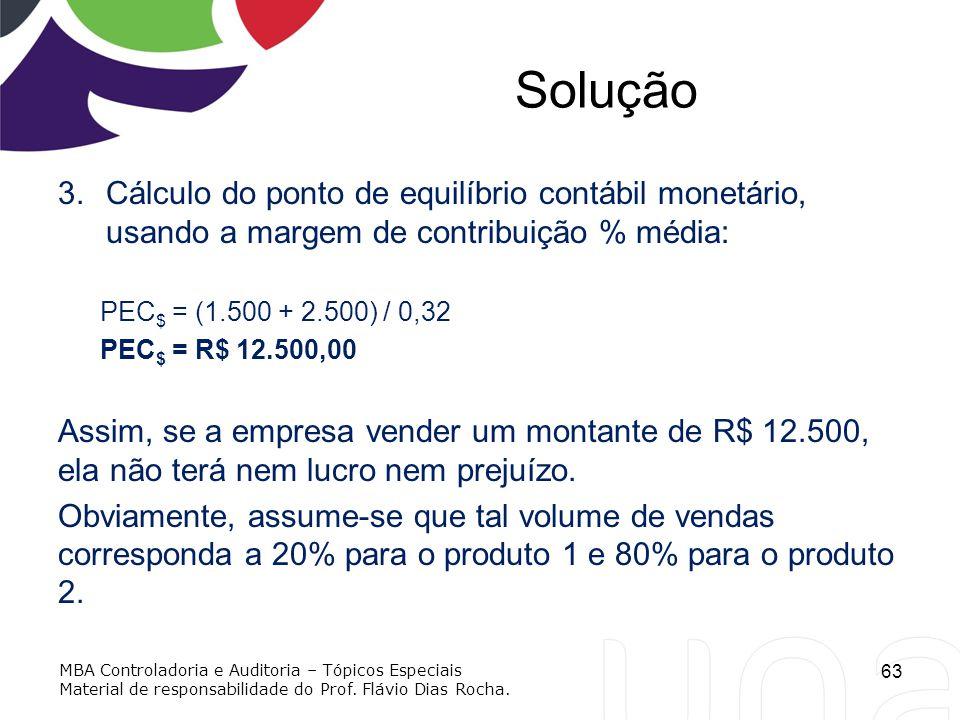 Solução 3.Cálculo do ponto de equilíbrio contábil monetário, usando a margem de contribuição % média: PEC $ = (1.500 + 2.500) / 0,32 PEC $ = R$ 12.500
