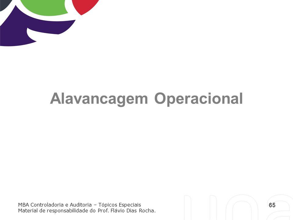 65 Alavancagem Operacional MBA Controladoria e Auditoria – Tópicos Especiais Material de responsabilidade do Prof. Flávio Dias Rocha.