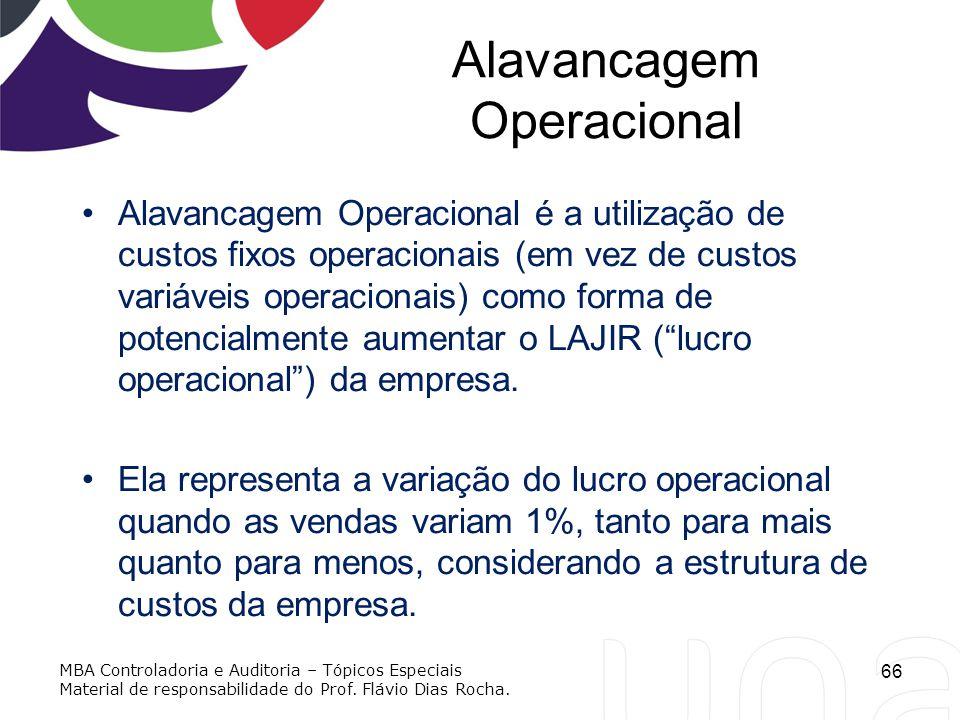 Alavancagem Operacional Alavancagem Operacional é a utilização de custos fixos operacionais (em vez de custos variáveis operacionais) como forma de po
