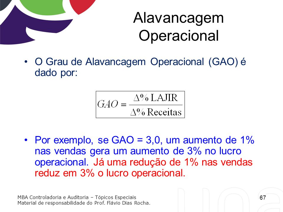 Alavancagem Operacional O Grau de Alavancagem Operacional (GAO) é dado por: Por exemplo, se GAO = 3,0, um aumento de 1% nas vendas gera um aumento de