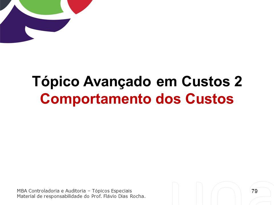 79 Tópico Avançado em Custos 2 Comportamento dos Custos MBA Controladoria e Auditoria – Tópicos Especiais Material de responsabilidade do Prof. Flávio