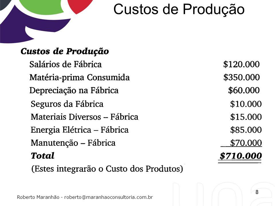 Custos de Produção 8 Roberto Maranhão - roberto@maranhaoconsultoria.com.br