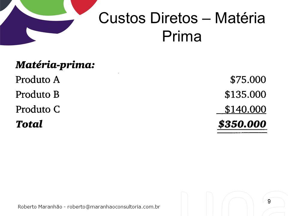 Custos Diretos – Matéria Prima 9 Roberto Maranhão - roberto@maranhaoconsultoria.com.br