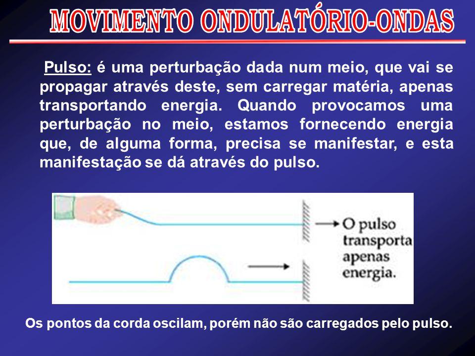 Os pontos da corda oscilam, porém não são carregados pelo pulso. Pulso: é uma perturbação dada num meio, que vai se propagar através deste, sem carreg