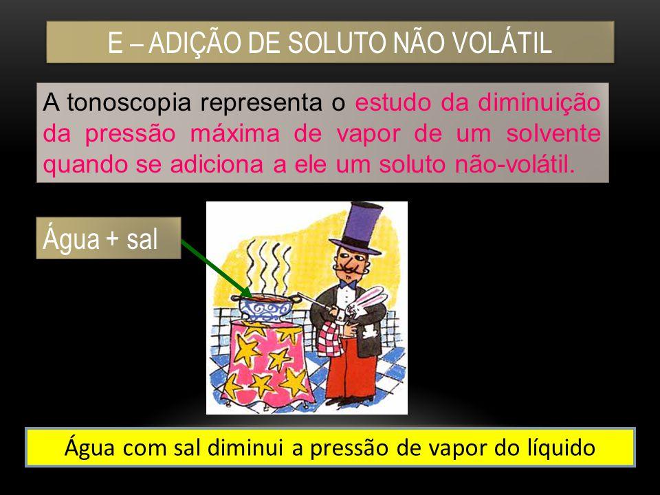 E – ADIÇÃO DE SOLUTO NÃO VOLÁTIL A tonoscopia representa o estudo da diminuição da pressão máxima de vapor de um solvente quando se adiciona a ele um