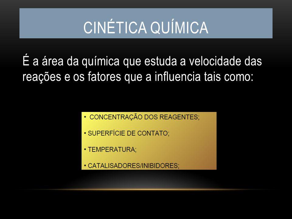 É a área da química que estuda a velocidade das reações e os fatores que a influencia tais como: