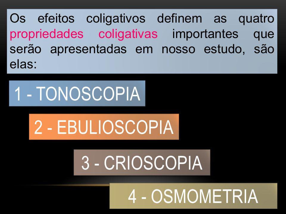 Os efeitos coligativos definem as quatro propriedades coligativas importantes que serão apresentadas em nosso estudo, são elas: 1 - TONOSCOPIA 2 - EBULIOSCOPIA 3 - CRIOSCOPIA 4 - OSMOMETRIA