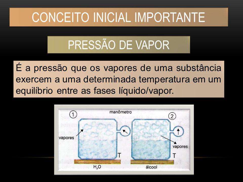 CONCEITO INICIAL IMPORTANTE PRESSÃO DE VAPOR É a pressão que os vapores de uma substância exercem a uma determinada temperatura em um equilíbrio entre as fases líquido/vapor.