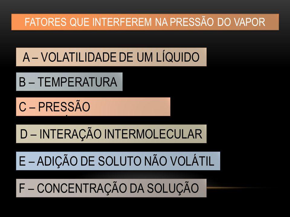 FATORES QUE INTERFEREM NA PRESSÃO DO VAPOR A – VOLATILIDADE DE UM LÍQUIDO B – TEMPERATURA C – PRESSÃO ATMOSFÉRICA E – ADIÇÃO DE SOLUTO NÃO VOLÁTIL F – CONCENTRAÇÃO DA SOLUÇÃO D – INTERAÇÃO INTERMOLECULAR