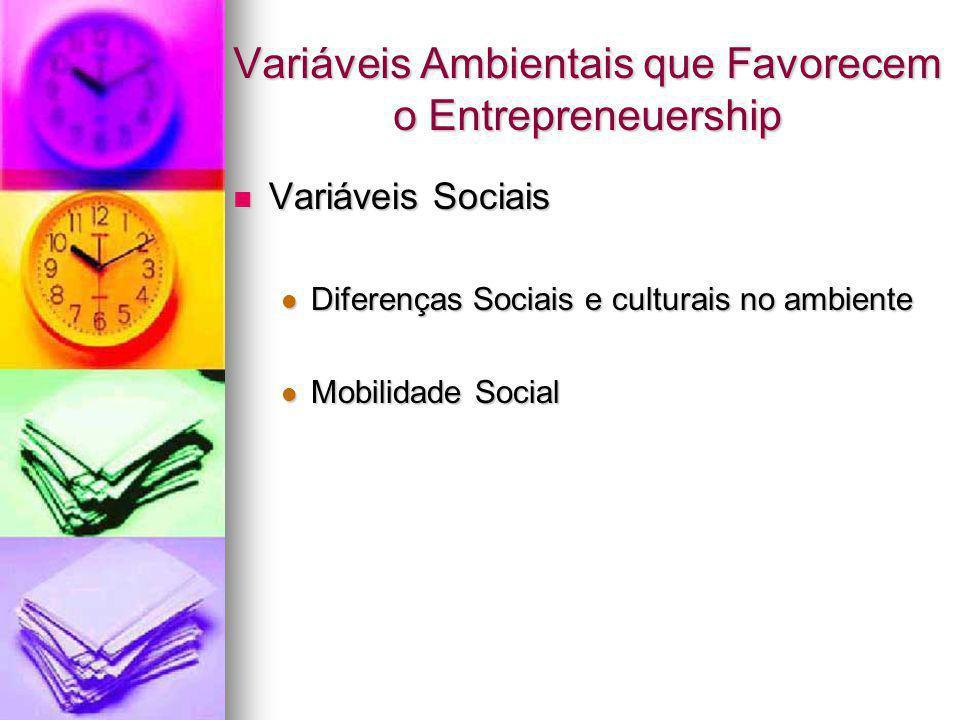 Variáveis Ambientais que Favorecem o Entrepreneuership Variáveis Sociais Variáveis Sociais Diferenças Sociais e culturais no ambiente Diferenças Socia