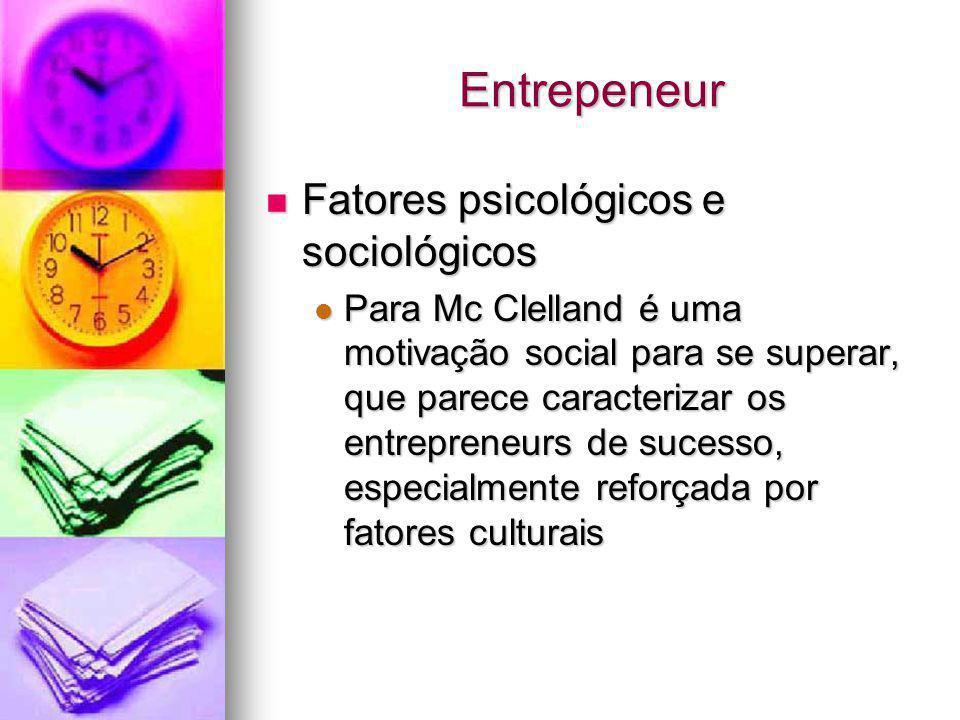 Entrepeneur Fatores psicológicos e sociológicos Fatores psicológicos e sociológicos Para Mc Clelland é uma motivação social para se superar, que parec