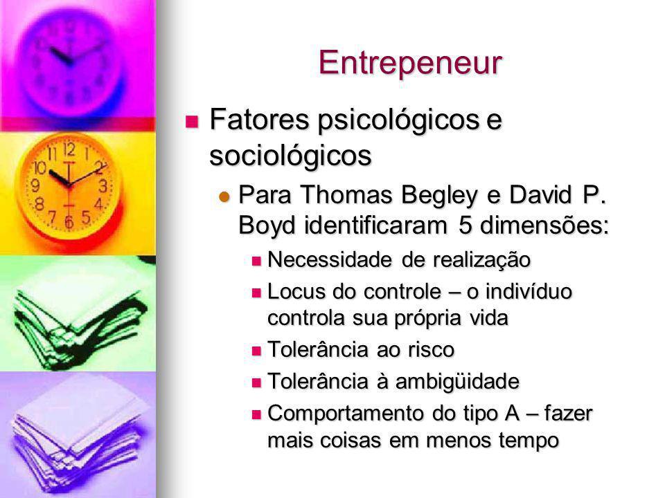 Entrepeneur Fatores psicológicos e sociológicos Fatores psicológicos e sociológicos Para Thomas Begley e David P. Boyd identificaram 5 dimensões: Para