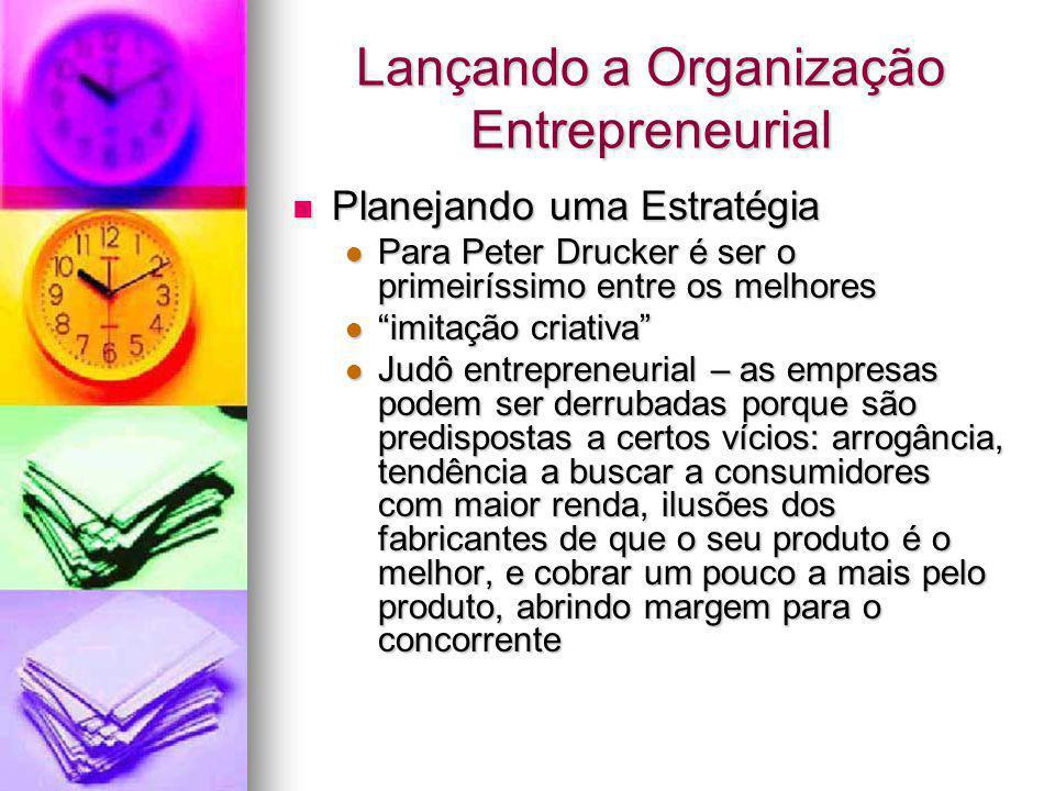 Lançando a Organização Entrepreneurial Planejando uma Estratégia Planejando uma Estratégia Para Peter Drucker é ser o primeiríssimo entre os melhores