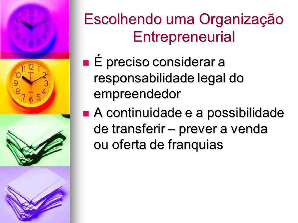 Escolhendo uma Organização Entrepreneurial É preciso considerar a responsabilidade legal do empreendedor É preciso considerar a responsabilidade legal