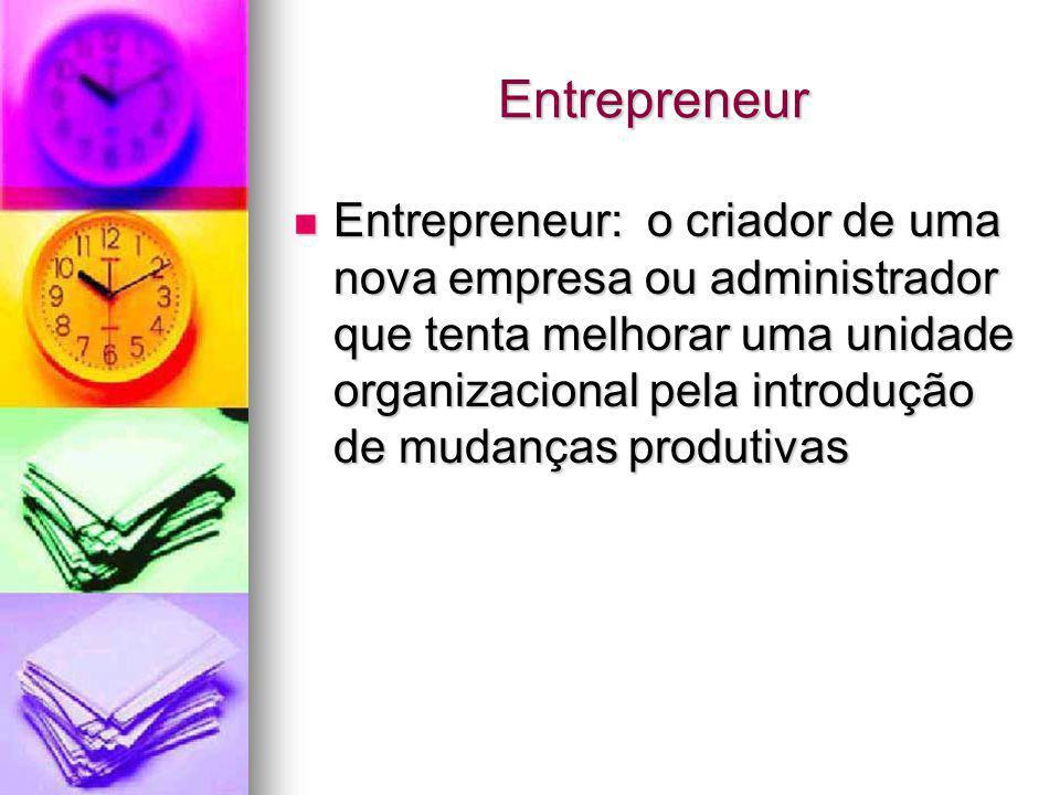 Entrepreneur Entrepreneur: o criador de uma nova empresa ou administrador que tenta melhorar uma unidade organizacional pela introdução de mudanças pr