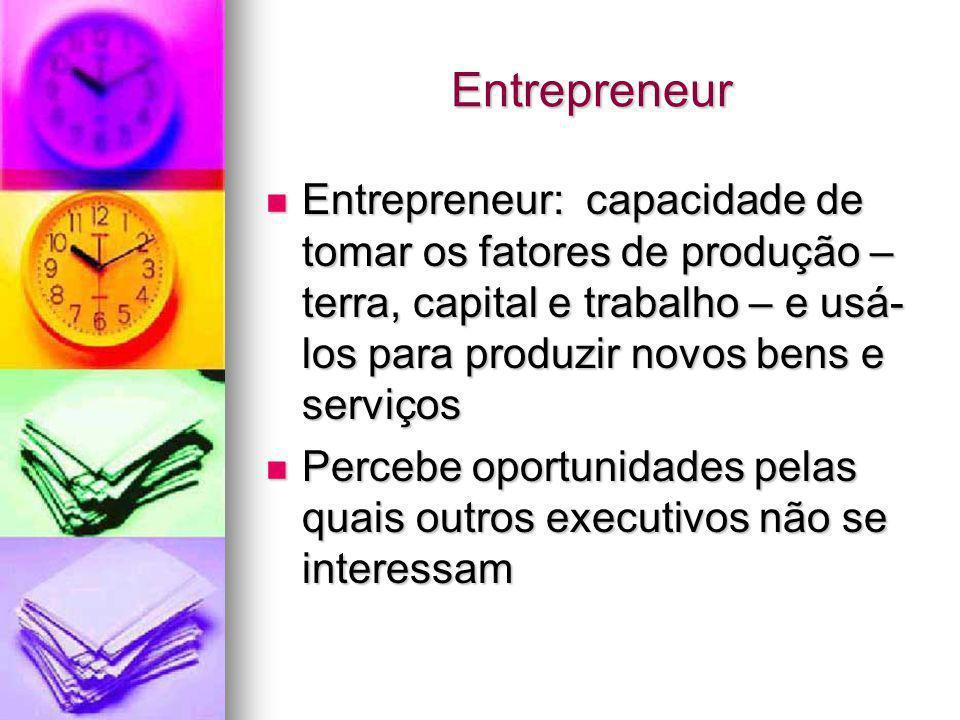 Entrepreneur Entrepreneur: capacidade de tomar os fatores de produção – terra, capital e trabalho – e usá- los para produzir novos bens e serviços Ent