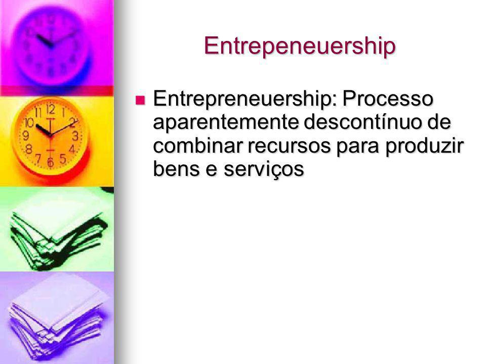 Entrepeneuership Entrepreneuership: Processo aparentemente descontínuo de combinar recursos para produzir bens e serviços Entrepreneuership: Processo
