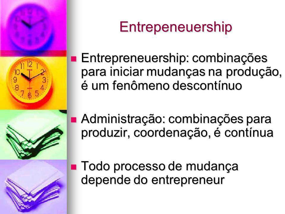 Entrepeneuership Entrepreneuership: combinações para iniciar mudanças na produção, é um fenômeno descontínuo Entrepreneuership: combinações para inici