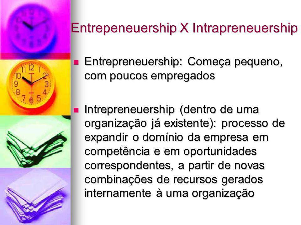 Entrepeneuership X Intrapreneuership Entrepreneuership: Começa pequeno, com poucos empregados Entrepreneuership: Começa pequeno, com poucos empregados