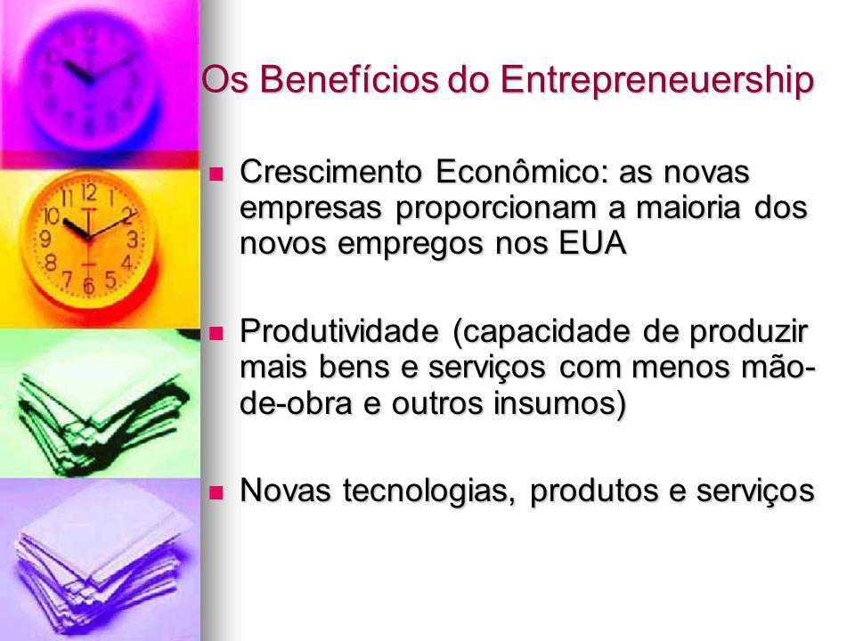 Os Benefícios do Entrepreneuership Crescimento Econômico: as novas empresas proporcionam a maioria dos novos empregos nos EUA Crescimento Econômico: a