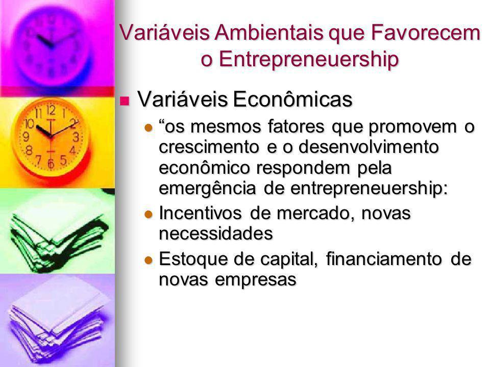 """Variáveis Ambientais que Favorecem o Entrepreneuership Variáveis Econômicas Variáveis Econômicas """"os mesmos fatores que promovem o crescimento e o des"""