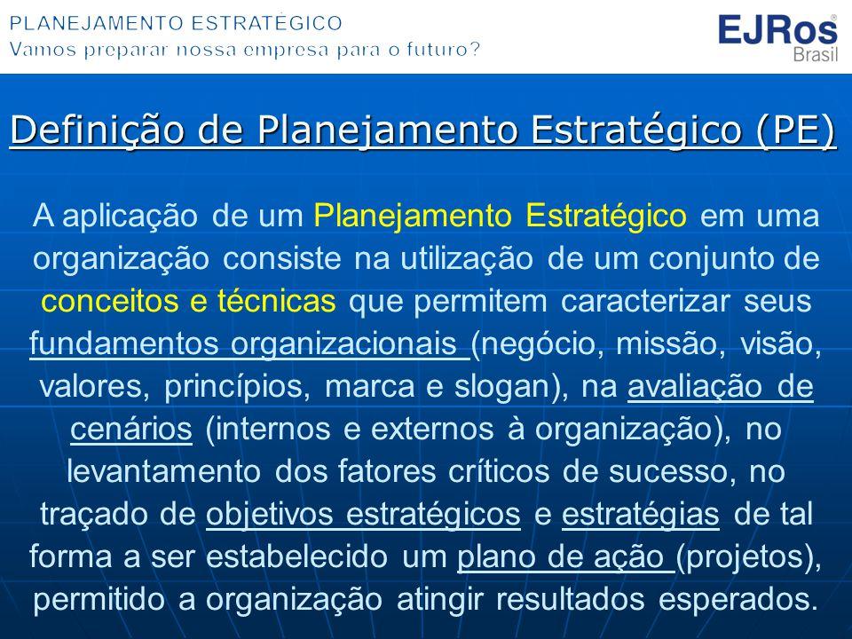 Definição de Planejamento Estratégico (PE) A aplicação de um Planejamento Estratégico em uma organização consiste na utilização de um conjunto de conceitos e técnicas que permitem caracterizar seus fundamentos organizacionais (negócio, missão, visão, valores, princípios, marca e slogan), na avaliação de cenários (internos e externos à organização), no levantamento dos fatores críticos de sucesso, no traçado de objetivos estratégicos e estratégias de tal forma a ser estabelecido um plano de ação (projetos), permitido a organização atingir resultados esperados.