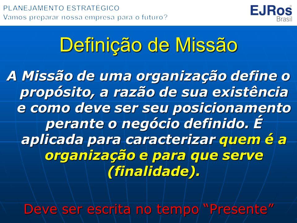 Definição de Missão A Missão de uma organização define o propósito, a razão de sua existência e como deve ser seu posicionamento perante o negócio def
